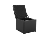 Storage Ottoman Bench Cube Footstool Black