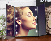 Tri-fold LED Makeup Mirror with normal mirror and 2x magnified on sides