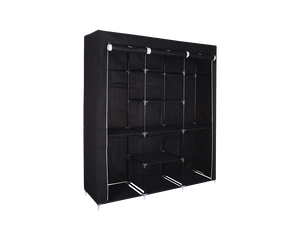 Black Portable Wardrobe With Cover