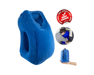 Inflatable Travel Pillow Neck Ergonomic Support Blue
