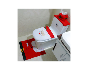 Christmas Toilet Seat Cover Rug  3in1