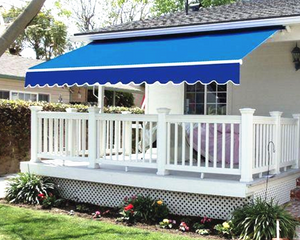 Retractable Awning Sun Shade Blue 4x3M