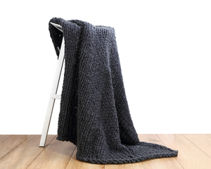 Chunky Knit Blanket  Charcoal