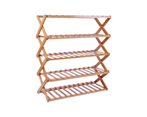 Shoe Storage Rack Bamboo Collapsible  5 Tier