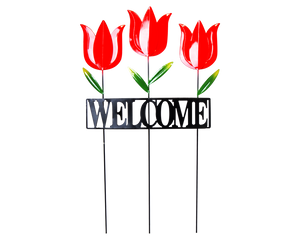 Red Tulips Welcome Garden Stake
