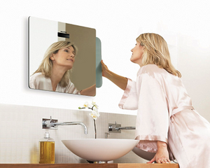 women using Salter Mirror Electronic Bathroom Scale 9034 at bathroom