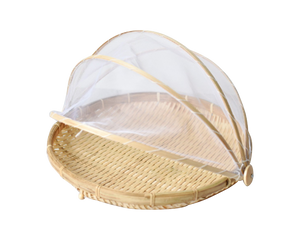 Food Cover Net Bamboo Basket Set of 3