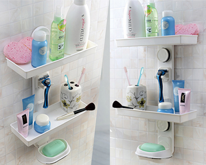 Shower Rack Suction Wall Mount 2 Tier