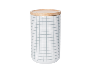 General Eclectic Tall Canister Grey Grid