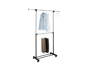 Whitmor Adjustable 2 Rod Garment Rack Black Chrome