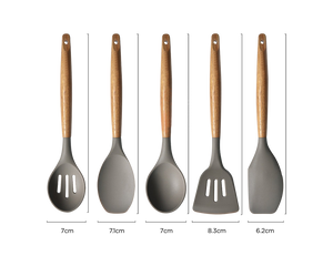 Cooking Utensil Set Silicone Grey Set of 5