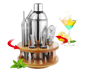 13 Pieces Cocktail Shaker Set w/ Rotating Base