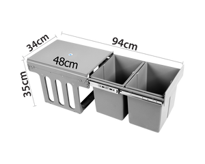 Kitchen Pull Out Waste Bin Double 15L