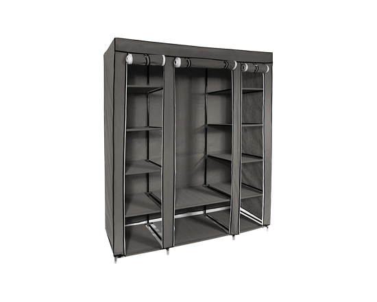 Portable Wardrobe With Zipped Door Grey