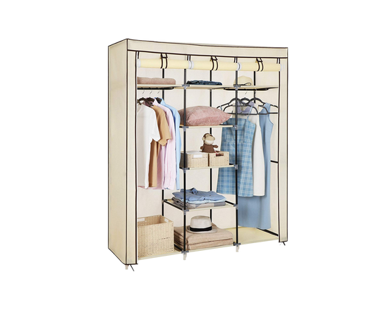Portable  Wardrobe With Cover Beige