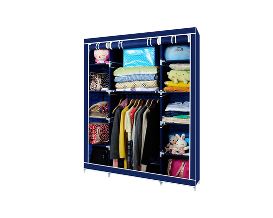Canvas Wardrobe Triple Door Blue