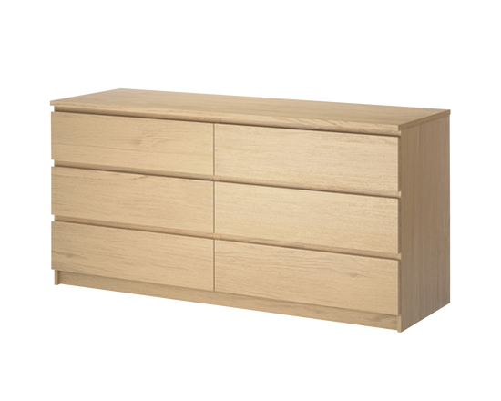 IKEA MALM Clothes Drawer Lowboy 6 Drawers Oak Veneer