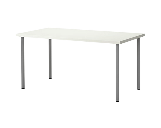 IKEA LINNMON Table 150x75cm White Silver Legs