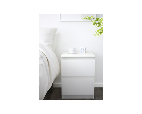 MALM Bedside Table 2 Drawers White