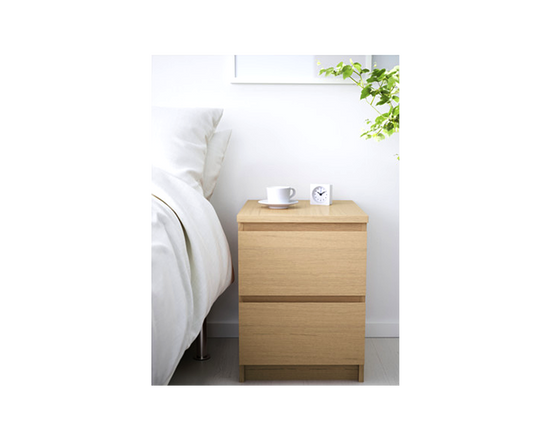 IKEA  Bedside Table 2 Drawers MALM Oak Veneer