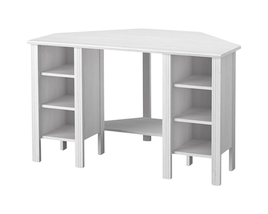 IKEA Brusali Corner Desk Shelves Adjustable White