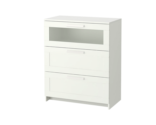 IKEA BRIMNES Clothes Drawer 3 drawers Frosted Glass White