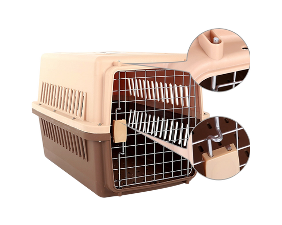 Pet Travel Carrier Cage 66x47x46cm Airline Approved Brown
