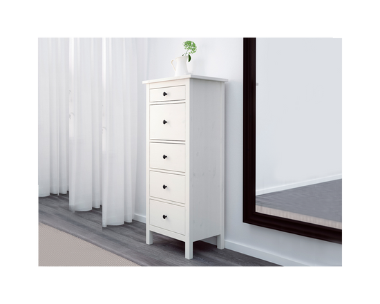IKEA HEMNES Tall Boy 5 Drawer White Stain