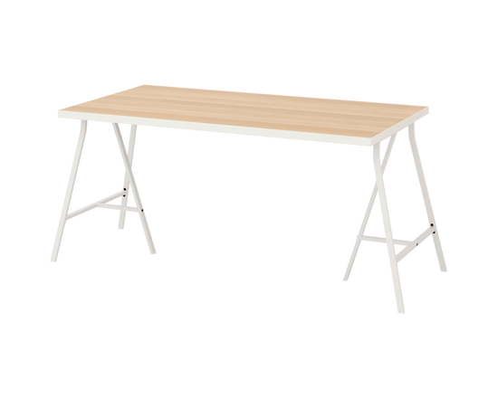 IKEA LINNMON Table Top OAK LERBERG White Legs