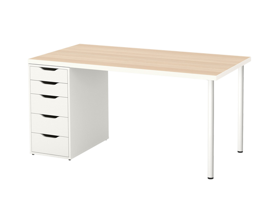 IKEA LINNMON Table OAK ALEX Office Drawer White