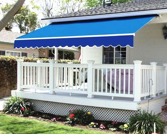 Retractable Awning Sun Shade Blue 3x2.5M