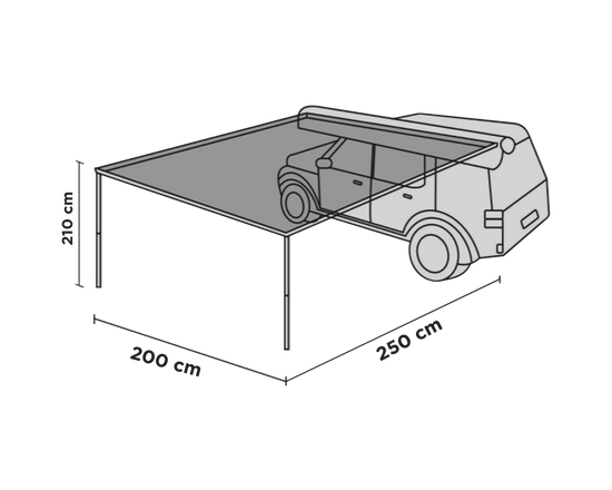 Car Pull Out Roof Top Awning 2x2.5M Grey