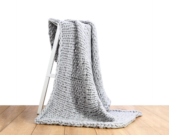 Chunky Knit Blanket  Light Grey