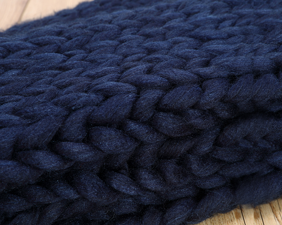 Chunky Knit Blanket Navy