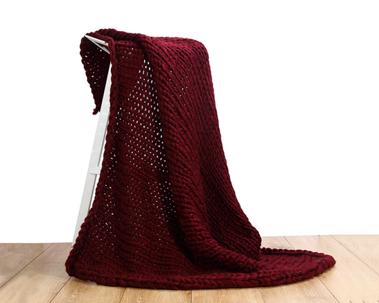 Chunky Knit Blanket Burgundy