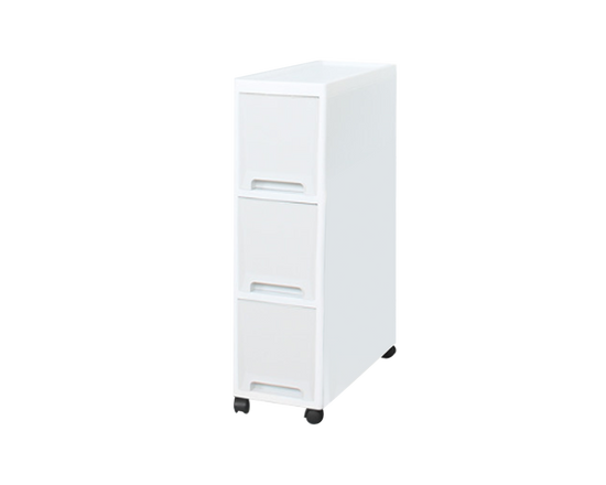 Plastic 3 Tier Drawers On Wheels  White