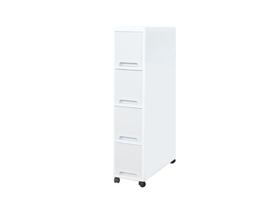 Plastic 4 Tier Drawers On Wheels  White