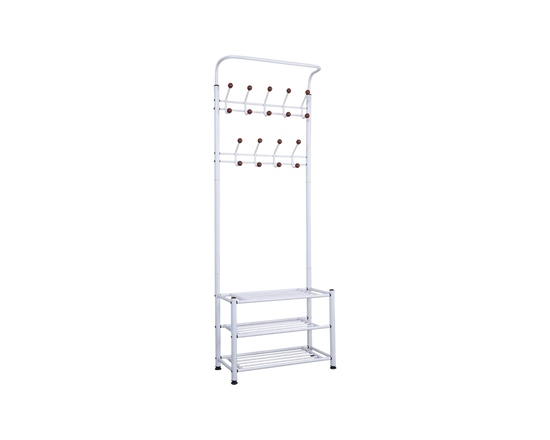 Freestanding Wardrobe Rack 9 Hooks WHITE