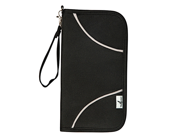 RFID Passport Zip Wallet BLACK