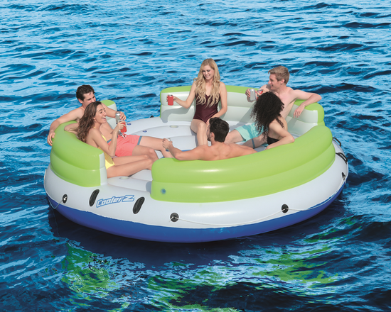 6 people on Bestway CoolerZ Lazy Dayz Floating Island