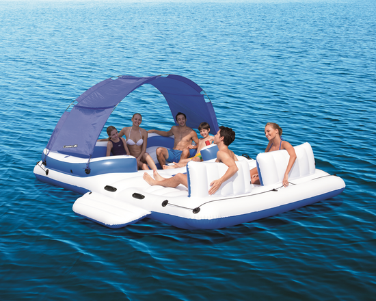 people on Bestway CoolerZ Tropical Breeze  Inflatable Island Raft