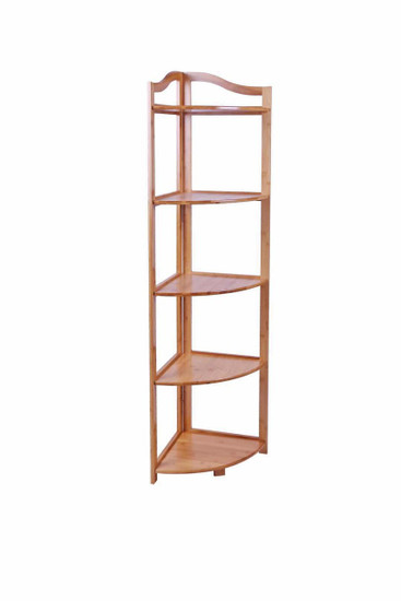 5 Tier Bamboo Bathroom Corner Shelf