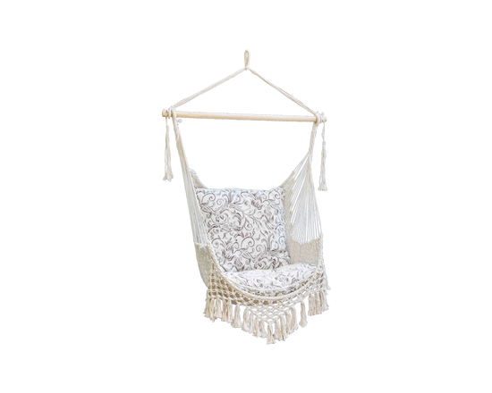 Portable Hammock Hanging Chair Cotton White
