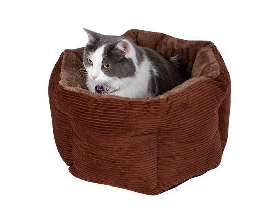 Cat Bed Comfy High Walled Brown
