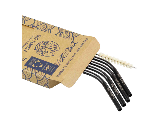 Save Planet A Stainless Drinking Straws Bent 4pk Black