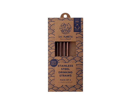 Save Planet A Stainless Drinking Straws Bent 4pk Rose Gold