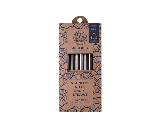 Save Planet A Metal Straws W/Cleaner (Set 6)