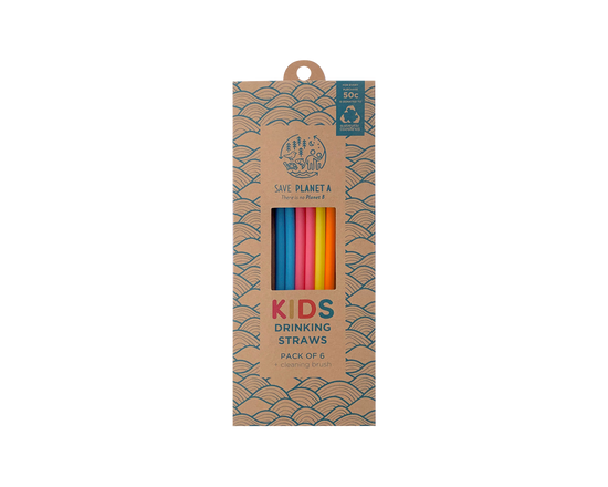 Save Planet A Kids Silicone Drinking Straws 6pk