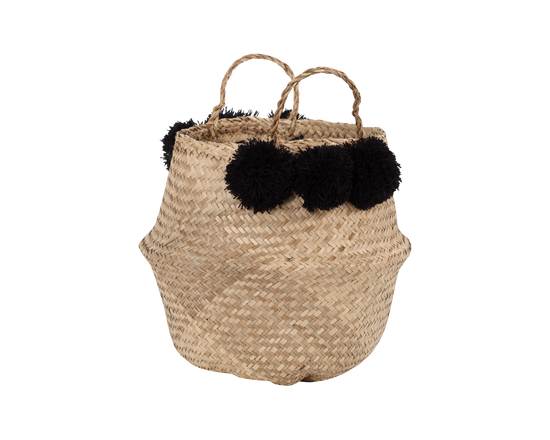 General Eclectic Seagrass Belly Basket Black Pom
