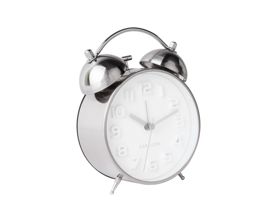 Karlsson Mr White Alarm Clock Silver
